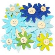 Geen 12 stuks gekleurde hobby bloemen grijs/groen/blauw van vilt met houten knoop Multi