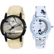 Life Print Dial And White Peacock Feathers Couple Casual Analogue Wrist Watch By Taj Avenue