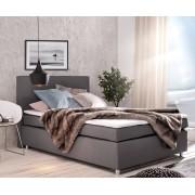 DELIFE Boxspring-bed Paradizo 140x200 cm grijze topper en matras vlakgeweven
