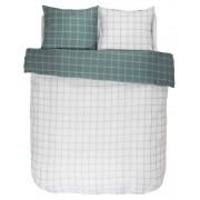Essenza Bavlněné povlečení na postel, obrázkové povlečení, povlečení na dvojlůžko, bílo-zelená barva, károvaný vzor, Essenza 200 x 220 cm - 200x220+2/60x70