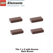 Lego Parts: Tile 1 x 2 with Groove (PACK of 4 - Dark Brown)