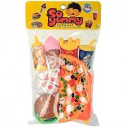 SHRIBOSSJI Fast Food Toy Pizza Cutting Pretend Play Set With Chopping Board knife and Fork
