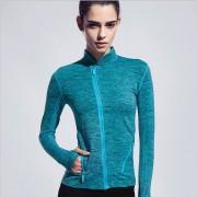 La Mujer Sport Chaqueta Running Tops Gimnasio De Fitness Yoga Capa Camisetas - Azul
