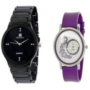 IIK Collection Black Men And Glory Peacock Dial Purple PU Analog Couple Analog Watches For Men And Women