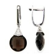 Náušnice s diamanty, záhněda, kolekce Magic, bílé zlato