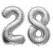 De-Ultimate Solid Silver Color 2 Digit Number (28) 3d Foil Balloon for Birthday Celebration Anniversary Parties