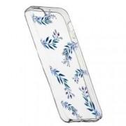 Husa Silicon Transparent Slim Blue Flowers 116 Apple iPhone 5 5S SE