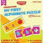 EduQuest - Alphabets Jigsaw Puzzle - 3+ Years Old - Set of 26 Puzzles - 3 Piece Puzzles - 4 Levels of Play