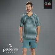 Pijama Masculino Curto Paulienne Blusa Listrada e Bermuda Azul em Liganete