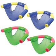 (Set/4) Swimways Summer Fun Floating Pool Noodle Sling Mesh Chairs - Grn/Blu