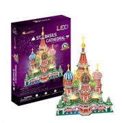 CubicFun L519h St. Basil's Cathedral (with LEDs) Puzzle,224 Pieces