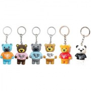 KD COLLECTIONS Cute teddy bear keychain KeyringPack of 6 KeychainsMulticolor