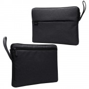 Splash-proof Nylon Fabric Soft Plush Lining Sleeve Handbag for 15.6-inch Laptop - Black