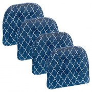 Klear Vu Trellis Tufted Non-Slip Geometric Dining Chair Cushions, Set of 4, Blue