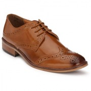 Hirel's Tan Derby Brogue Cap Toe Synthetic Leather Formal Shoes