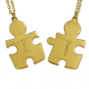 Personalized Men's Jewelry Personalized 18K Gold Plated Sterling Silver Couple's Puzzle Necklace 110-01-132-08