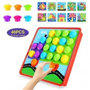 Geekper Button Art Colorful Matching Mosaic Pegboard Set Early Learning Educational Toys for Kids (Multi-color)