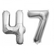 Stylewell Solid Silver Color 2 Digit Number (47) 3d Foil Balloon for Birthday Celebration Anniversary Parties