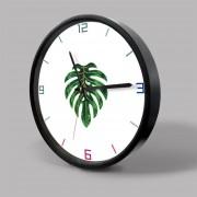 12 Inch Home Office Room Decorativas De Metal Frame Monstera Patrón MUTE No Marcando Muro Redondo Reloj De Cuarzo