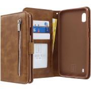 Samsung Galaxy A10 Bookcase hoesje - CaseBoutique - Effen Bruin - Kunstleer - Met Rits Vakje Muntvakje