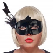 Geen Zwart oogmasker met veren voor dames