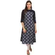 Alom Navy blue floral printed A-Line Kurta with three fourth sleeves