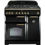 Rangemaster CDL90DFFBL/B Classic Deluxe Gloss Black 90cm Dual Fuel Range Cooker