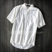 Heren Eenvoudig Zomer Overhemd,Casual/Dagelijks Effen Overhemdkraag Korte mouw Linnen Dun