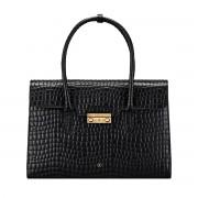 Damen Leder Aktentasche in Kroko Optik in Schwarz - Dokumententasche, Aktenkoffer, Businesstasche, Laptoptasche