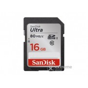 SanDisk SDHC kártya 16GB Ultra, Class 10 80MB/s, UHS-I