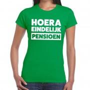 Bellatio Decorations Hoera eindelijk pensioen t-shirt groen dames XL - Feestshirts