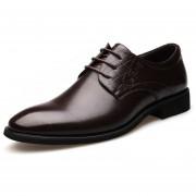 Zapatos Mocasines De Negocio De Encaje Para Hombre - Marrón