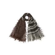 【70%OFF】シルク混 ボーダー 切替 ストール グレーマルチ ファッション > ファッション小物~~スカーフ