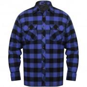 vidaXL Bélelt kockás férfi ing méret XXXL kék-fekete
