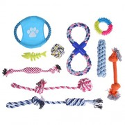 Rrimin 10 Pcs Puppy Dog Pet Chew Toys Set and Pet Rope Toys for Small to Medium Dogs