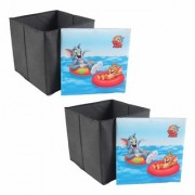 PrettyKrafts Foldable Storage Box Cum Stool - Toy Storage - Polyster Blend Fabric Foldable Organizer Boxes Containers Drawers with Tom Jerry Lid - Set of 2 pcs