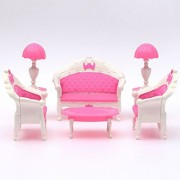Cute Mini Dollhouse Furniture Living Room Parlour Sofa Set Barbie Accessories Pink Lovely Dollhouse Barbie Furnitures for Child 1 Sets of 6Pcs