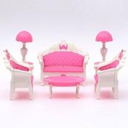 Dllhouse Furnitures Cute Mini Dollhouse Furniture Living Room Parlour Sofa Set Barbie Accessories Pink Lovely Dollhouse Barbie Furnitures for Child 1 Sets of 6Pcs