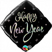 Qualatex Happy New Year Square Black Sparkle 18 Mylar Balloon by