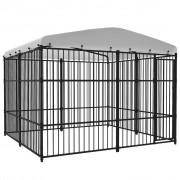 vidaXL Дворна клетка за кучета с покрив, 300x300 см