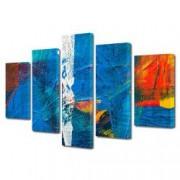 Tablou Canvas Premium Abstract Multicolor Culori Pe Panza Decoratiuni Moderne pentru Casa 120 x 225 cm