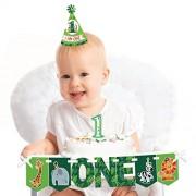 Jungle Party Animals - 1st Birthday Girl or Boy Smash Cake Decorating Kit - Safari Zoo Animal High Chair Decorations