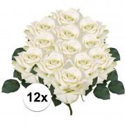 Bellatio flowers & plants 12x Witte roos deluxe kunstbloemen 31 cm