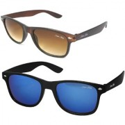Silver Kartz Combo of 2 Wayfarer Unisex Sunglasses(scm40//Brown//Blue)