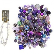 Jesse James Beads 9231 Premium Purple Bead Mix - Plus Free 18 Beaded Chain Purple