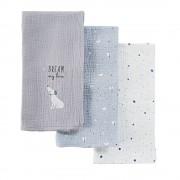 Maisons du Monde 3 muselinas para bebé de algodón gris, blanco y azul con estampado