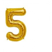 Stylewell Solid Golden Color Single Number Five (5) 3d Foil Balloon for Birthday Celebration Anniversary Parties