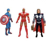 Combo Of 3 Avengers Action Figure Toy Captain America Iron Man Thor 20 cms with LED light