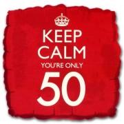 Merkloos Helium ballon keep calm you are 50
