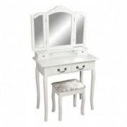 Masuta de toaleta cu taburet alba/argintie 80x40x142 cm REGINA